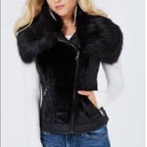 Guess LA Deep Ink Posh Vest Faux Fur Moto Vest XS